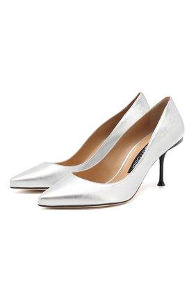 Женская кожаные туфли SERGIO ROSSI серебряного цвета, арт. A81750-MNAL05 | Фото 1