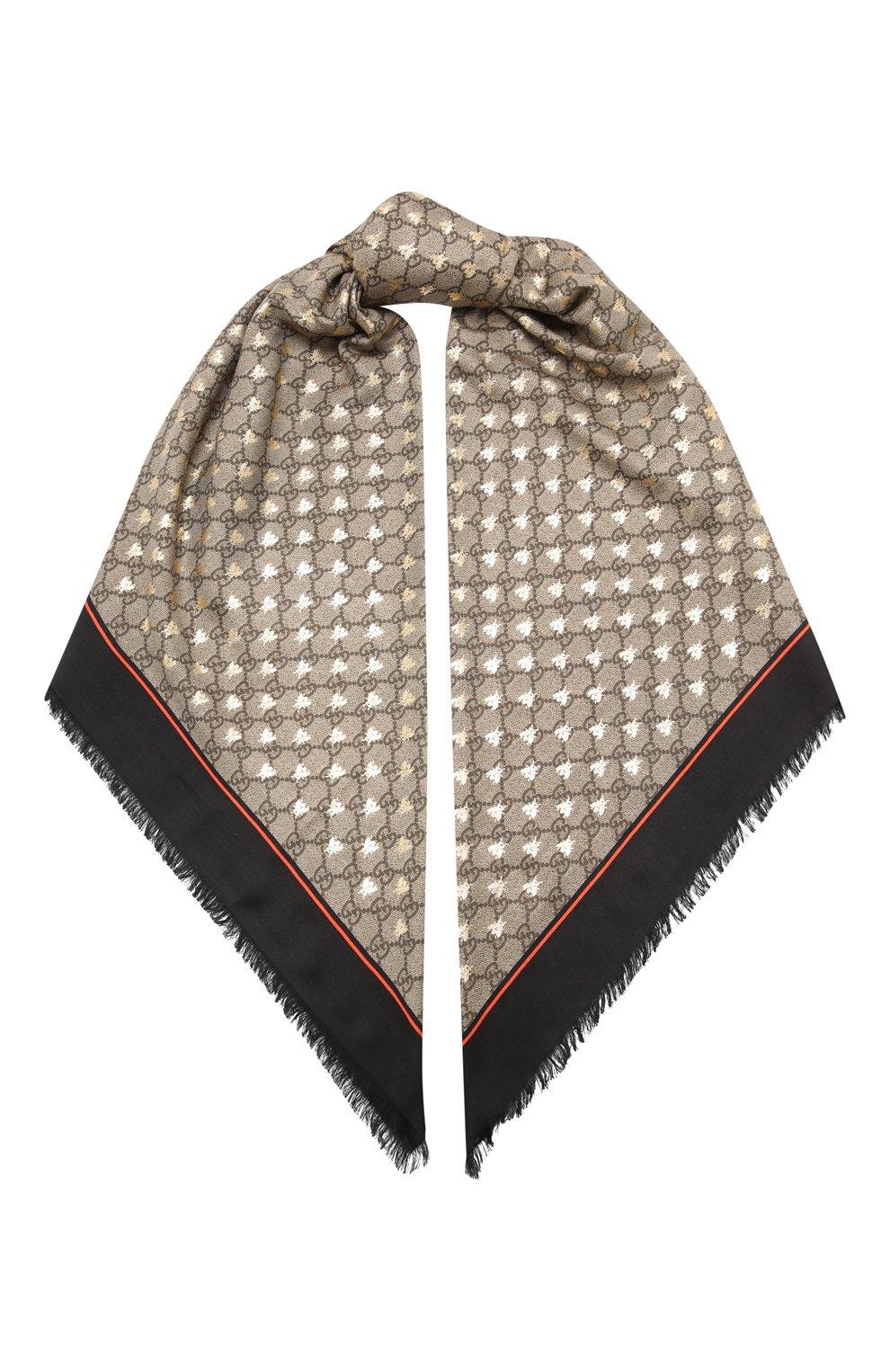 Шаль из смеси вискозы и шелка  Gucci черного цвета | Фото №1