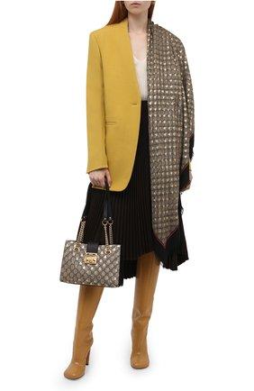 Шаль из смеси вискозы и шелка  Gucci черного цвета | Фото №2
