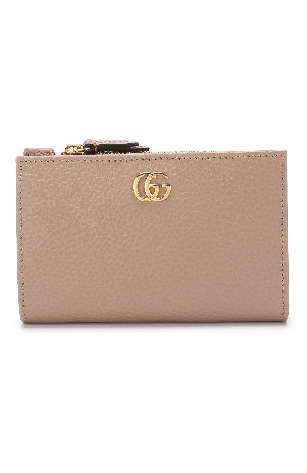 Кожаное портмоне GG Marmon Gucci бежевого цвета | Фото №1
