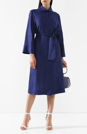 Женское льняное платье KITON темно-синего цвета, арт. D47311H06836 | Фото 2