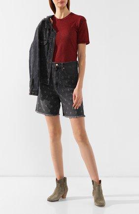 Женская футболка из смеси хлопка и льна ISABEL MARANT ETOILE красного цвета, арт. TS0334-00M006E/ANDREIA   Фото 2