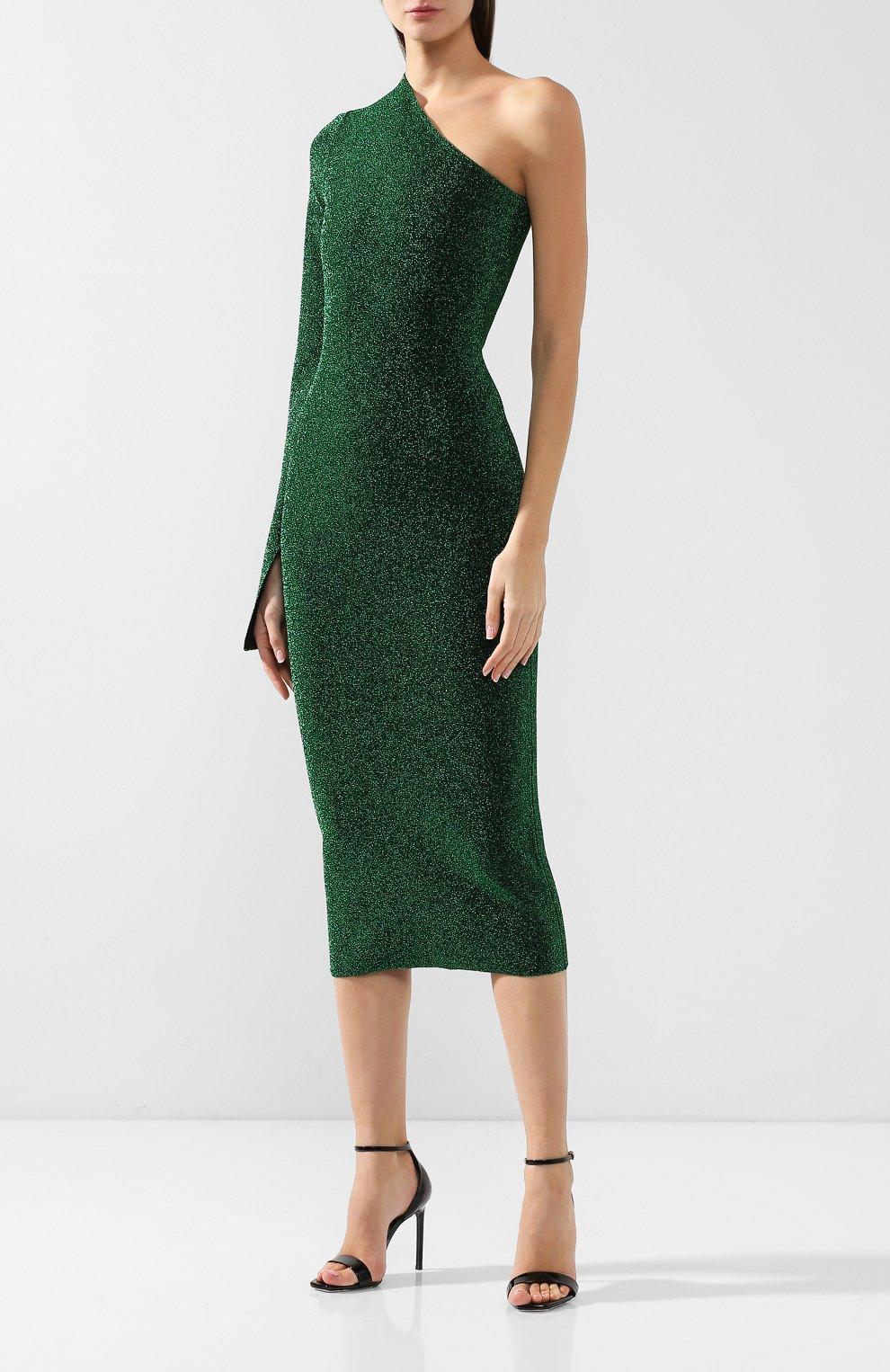 Женское платье на одно плечо SOLACE зеленого цвета, арт. 0S21001 | Фото 3
