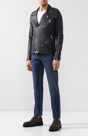 Мужская кожаная косуха GIORGIO BRATO темно-серого цвета, арт. GU19S7206PMP   Фото 2 (Мужское Кросс-КТ: Куртка-верхняя одежда, Кожа и замша, Верхняя одежда; Длина (верхняя одежда): Короткие; Рукава: Длинные; Статус проверки: Проверено; Кросс-КТ: Куртка)