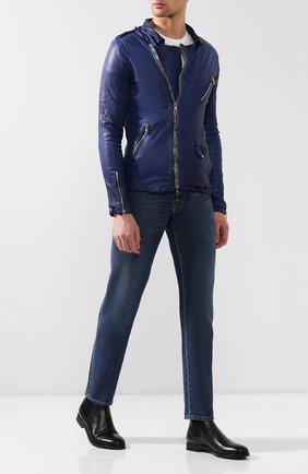 Мужская кожаная косуха GIORGIO BRATO синего цвета, арт. GU19S9091V   Фото 2 (Мужское Кросс-КТ: Куртка-верхняя одежда, Кожа и замша, Верхняя одежда; Длина (верхняя одежда): Короткие; Рукава: Длинные; Материал подклада: Шелк; Статус проверки: Проверено; Кросс-КТ: Куртка)