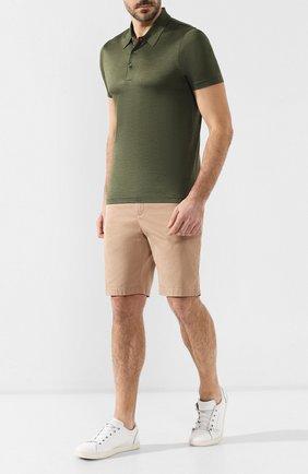Мужское шелковое поло ANDREA CAMPAGNA зеленого цвета, арт. 60151/78301 | Фото 2