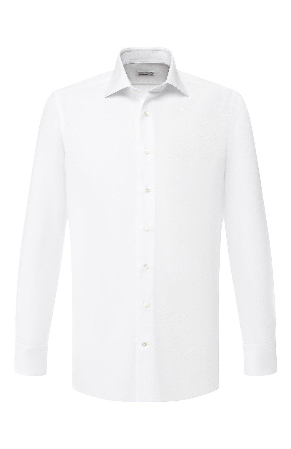 Мужская хлопковая сорочка с воротником кент ZILLI белого цвета, арт. MFR-01095-MERCU/RZ01 | Фото 1
