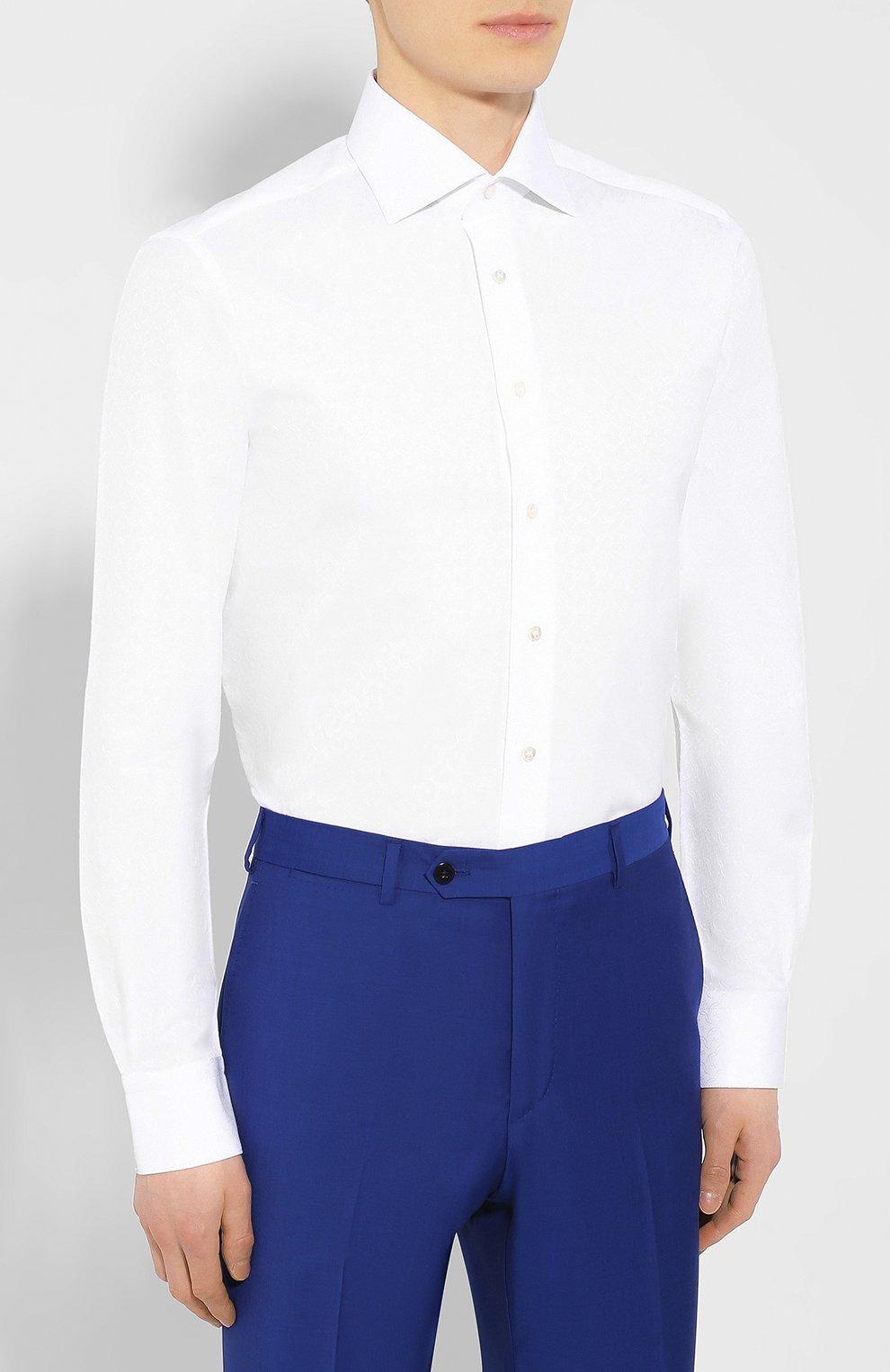 Мужская хлопковая сорочка с воротником кент ZILLI белого цвета, арт. MFR-01095-MERCU/RZ01 | Фото 3