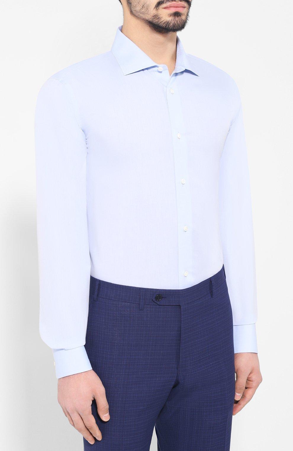 Хлопковая сорочка с воротником кент | Фото №3