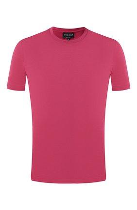 Мужская хлопковая футболка  GIORGIO ARMANI малинового цвета, арт. 3GST53/SJEJZ | Фото 1