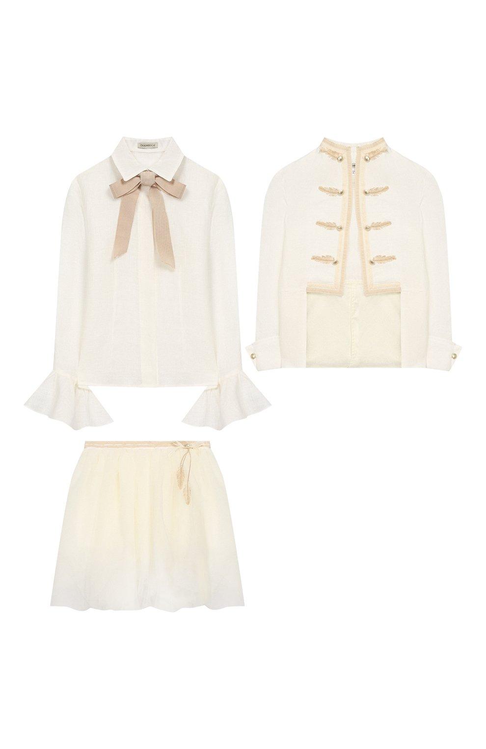 Детский комплект из юбки и блузы с жакетом DESIGNERS CAT бежевого цвета, арт. 100000K01000090/4A-8A   Фото 1