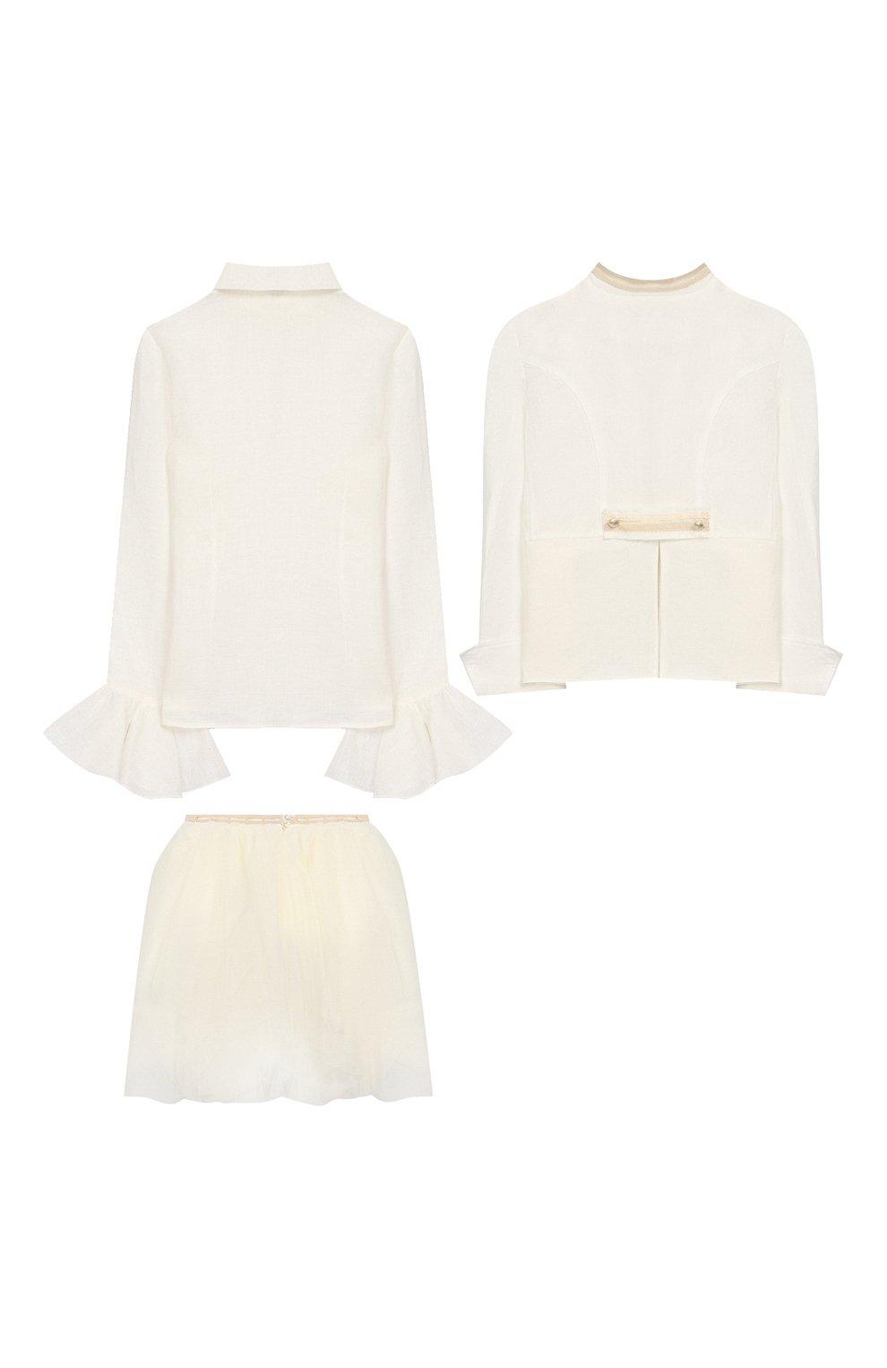 Детский комплект из юбки и блузы с жакетом DESIGNERS CAT бежевого цвета, арт. 100000K01000090/4A-8A   Фото 2
