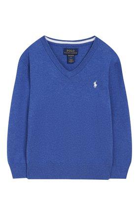 Детский хлопковый пуловер POLO RALPH LAUREN голубого цвета, арт. 322702188 | Фото 1 (Материал внешний: Хлопок; Рукава: Длинные; Статус проверки: Проверено; Мальчики Кросс-КТ: Пуловер-одежда)