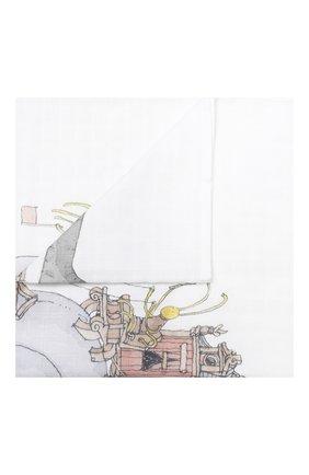 Детского хлопковая пеленка ATELIER CHOUX белого цвета, арт. MINI CARRE SNAIL RIDING | Фото 1