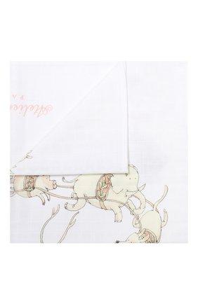 Детского хлопковая пеленка ATELIER CHOUX белого цвета, арт. MINI CARRE SANTA`S SLEIGH | Фото 1