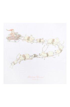 Детского хлопковая пеленка ATELIER CHOUX белого цвета, арт. MINI CARRE SANTA`S SLEIGH | Фото 2