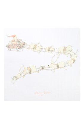Детского хлопковая пеленка ATELIER CHOUX белого цвета, арт. CARRE SANTA`S SLEIGH | Фото 2