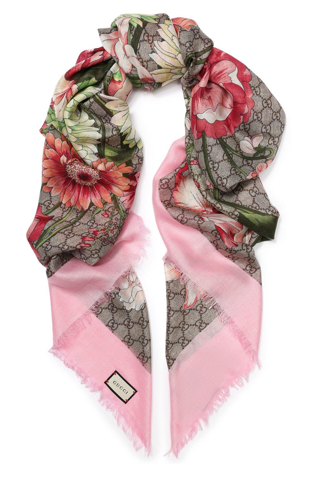 Шаль из смеси вискозы и шелка Gucci розового цвета | Фото №1