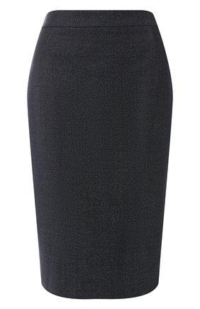 Женская шерстяная юбка BOSS темно-синего цвета, арт. 50400508   Фото 1