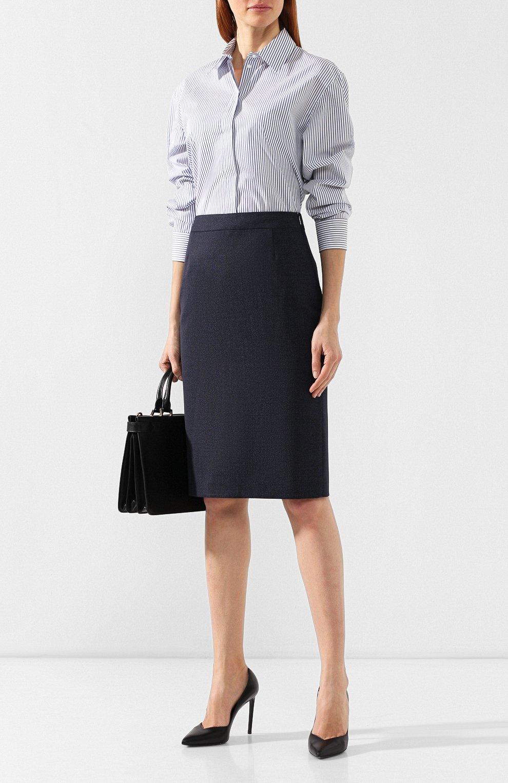 Женская шерстяная юбка BOSS темно-синего цвета, арт. 50400508   Фото 2