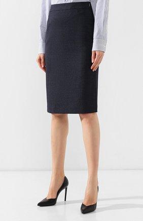 Женская шерстяная юбка BOSS темно-синего цвета, арт. 50400508   Фото 3