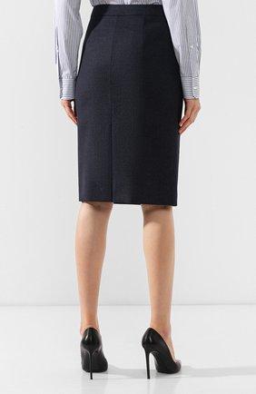 Женская шерстяная юбка BOSS темно-синего цвета, арт. 50400508   Фото 4