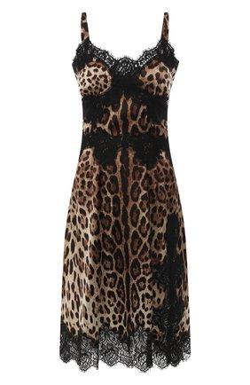 Женское платье с принтом DOLCE & GABBANA коричневого цвета, арт. F6A5DT/FSAXY | Фото 1