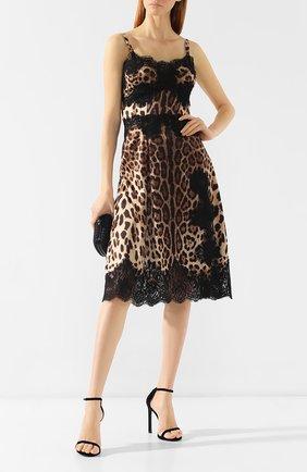 Женское платье с принтом DOLCE & GABBANA коричневого цвета, арт. F6A5DT/FSAXY | Фото 2