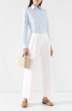 Женская хлопковая рубашка KITON светло-голубого цвета, арт. D23409H02960 | Фото 2 (Материал внешний: Хлопок; Рукава: Длинные; Длина (для топов): Стандартные; Принт: Без принта; Женское Кросс-КТ: Рубашка-одежда)