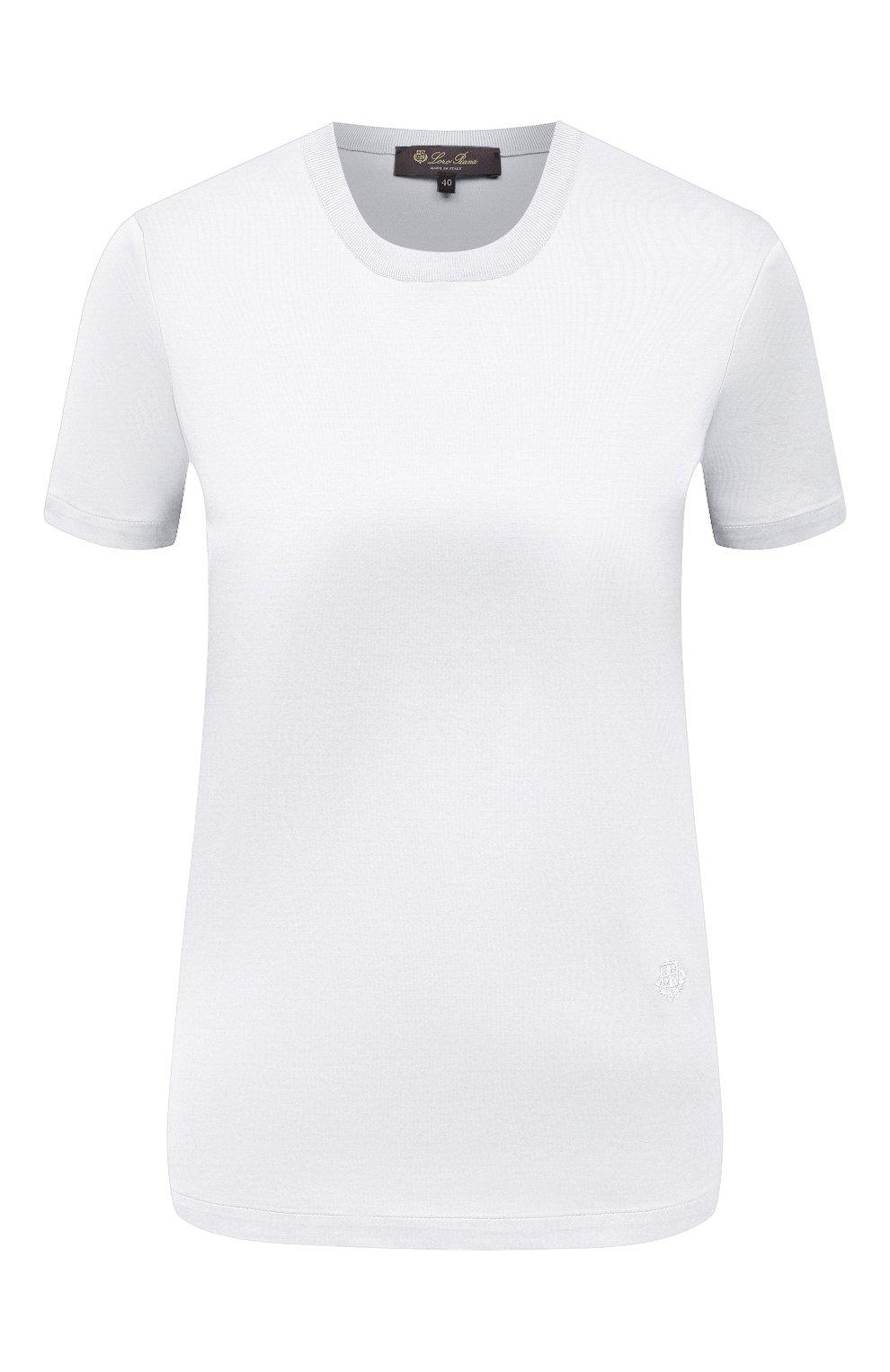 Женская хлопковая футболка LORO PIANA белого цвета, арт. FAI5069 | Фото 1