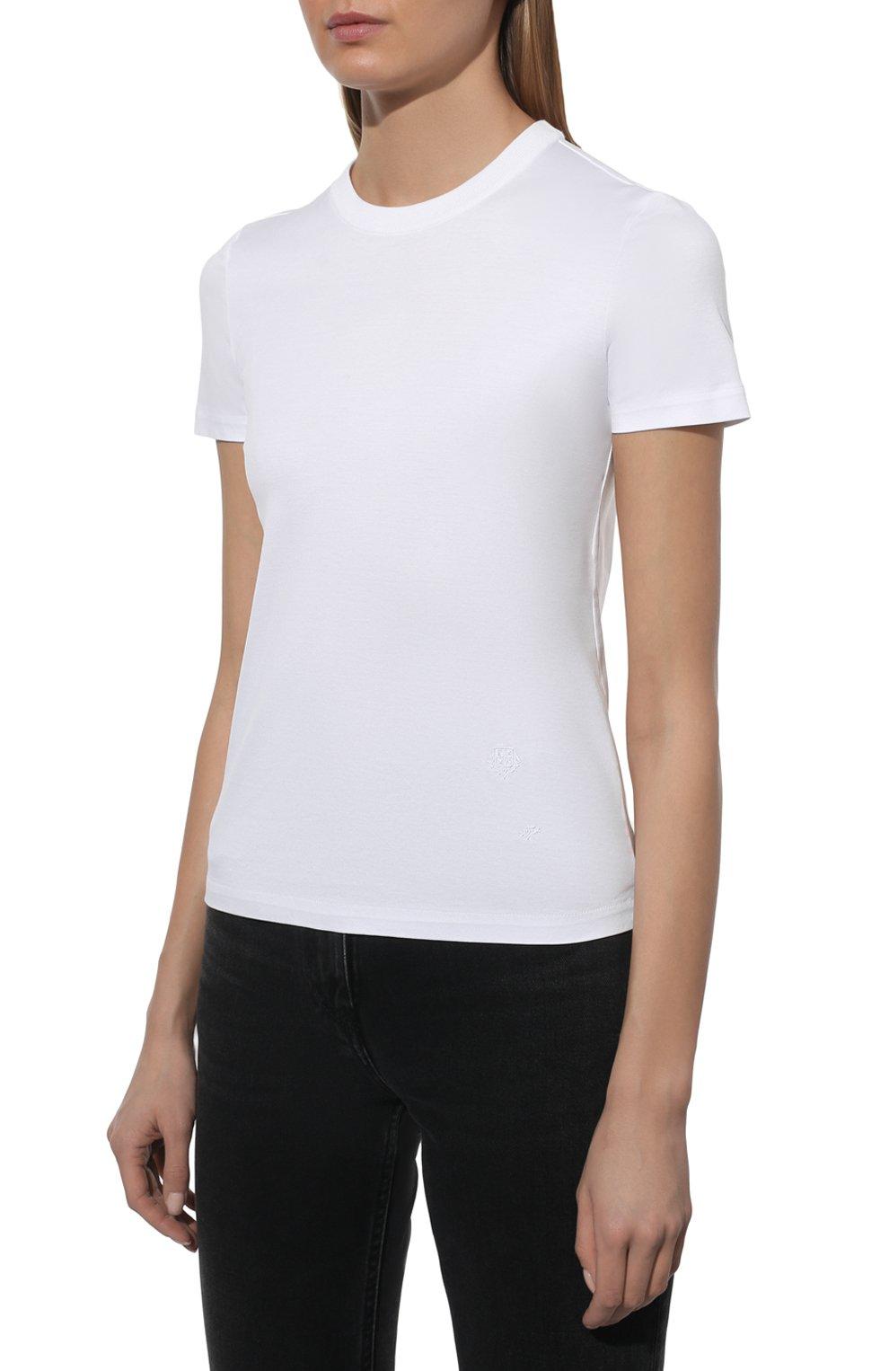 Женская хлопковая футболка LORO PIANA белого цвета, арт. FAI5069 | Фото 3