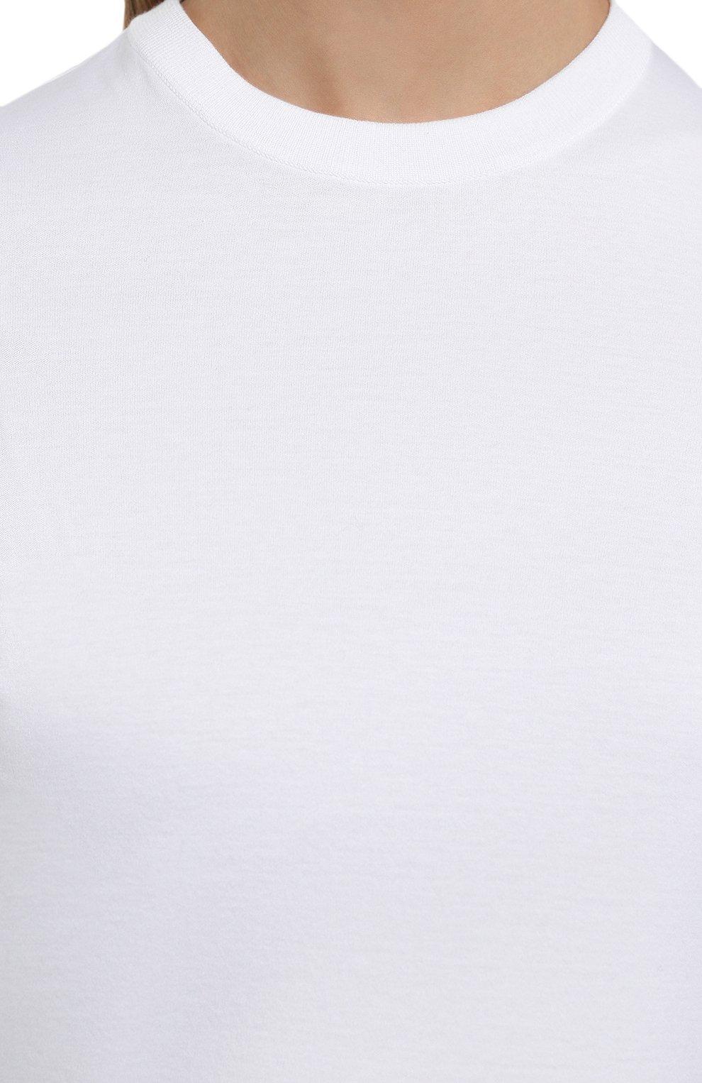 Женская хлопковая футболка LORO PIANA белого цвета, арт. FAI5069 | Фото 5