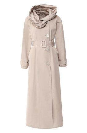 Пальто с поясом и капюшоном | Фото №1