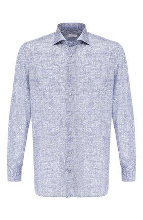 Мужская рубашка из смеси шелка и хлопка ZILLI синего цвета, арт. MFR-84080-MERCU/RZ02 | Фото 1