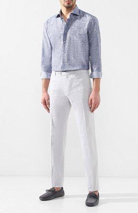 Мужская рубашка из смеси шелка и хлопка ZILLI синего цвета, арт. MFR-84080-MERCU/RZ02 | Фото 2