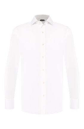 Мужская хлопковая сорочка с воротником кент TOM FORD белого цвета, арт. 5FT000/94C1AX | Фото 1