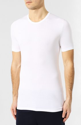 Мужская футболка из вискозы ZIMMERLI белого цвета, арт. 700-1339 | Фото 3 (Кросс-КТ: домашняя одежда; Рукава: Короткие; Длина (для топов): Стандартные; Мужское Кросс-КТ: Футболка-белье; Материал внешний: Вискоза; Статус проверки: Проверена категория)