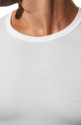 Мужская футболка из вискозы ZIMMERLI белого цвета, арт. 700-1339 | Фото 5 (Кросс-КТ: домашняя одежда; Рукава: Короткие; Длина (для топов): Стандартные; Мужское Кросс-КТ: Футболка-белье; Материал внешний: Вискоза; Статус проверки: Проверена категория)