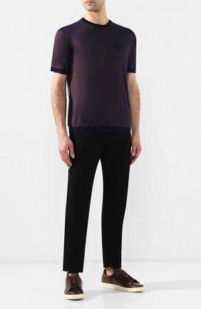 Мужская футболка из смеси шелка и хлопка ZILLI коричневого цвета, арт. MER-NT200-0XF01/MC01   Фото 2
