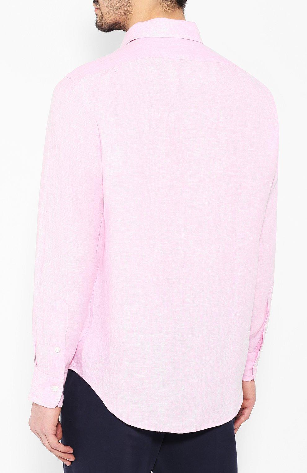 f6656f7c9cf Мужская розовая льняная рубашка POLO RALPH LAUREN — купить за 10950 ...