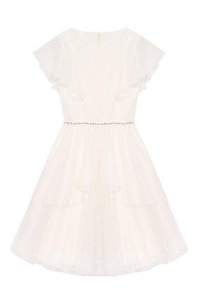Детское платье с поясом ALETTA белого цвета, арт. AP99026-26CIN/9A-16A | Фото 1