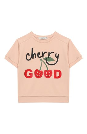 Детский хлопковый свитшот с короткими рукавами STELLA MCCARTNEY розового цвета, арт. 539181/SMJB1 | Фото 1