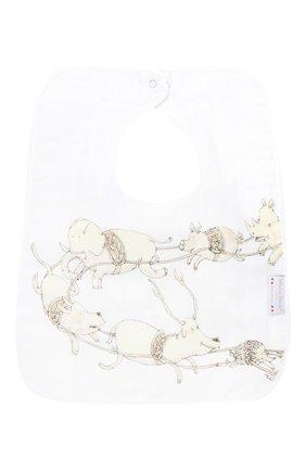 Детский хлопковый нагрудник ATELIER CHOUX белого цвета, арт. LARGE BIB SANTA`S SLEIGH | Фото 2