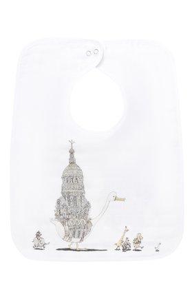 Детский хлопковый нагрудник ATELIER CHOUX белого цвета, арт. LARGE BIB ATELIER CH0UX PARIS | Фото 1