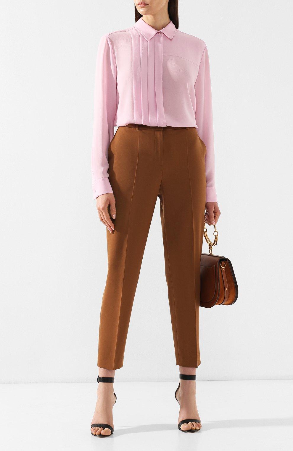 f26e82d3187 Женская светло-розовая блузка со складками BOSS — купить за 17500 ...
