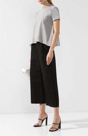 Женская хлопковая футболка SACAI светло-серого цвета, арт. SCW-025 | Фото 2
