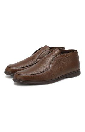 Мужские кожаные ботинки open walk  с внутренней меховой отделкой LORO PIANA коричневого цвета, арт. FAI5538 | Фото 1