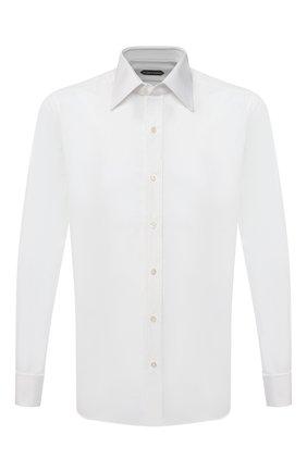 Мужская хлопковая сорочка с воротником кент TOM FORD белого цвета, арт. 5FT000/94S2JE | Фото 1