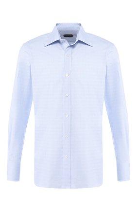 Мужская хлопковая сорочка с воротником кент TOM FORD голубого цвета, арт. 5FT146/94S1AX | Фото 1