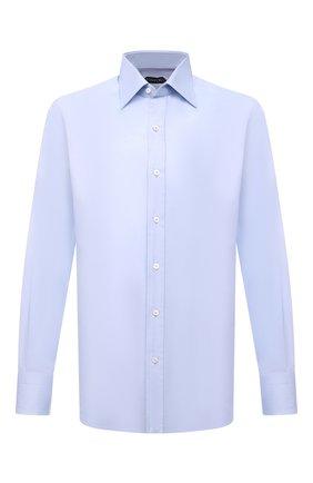 Мужская хлопковая сорочка с воротником кент TOM FORD голубого цвета, арт. 5FT192/94C1JE | Фото 1